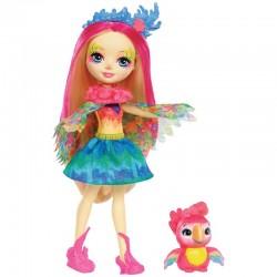 Lėlė Enchantimals Papūga Peeki su gyvūnėliu