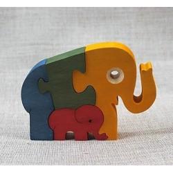 Medinė dėlionė drambliukai
